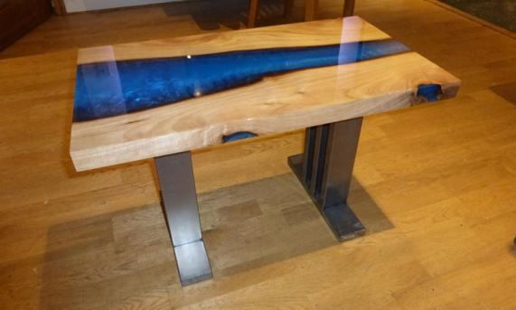 Wood and Resin Side Table