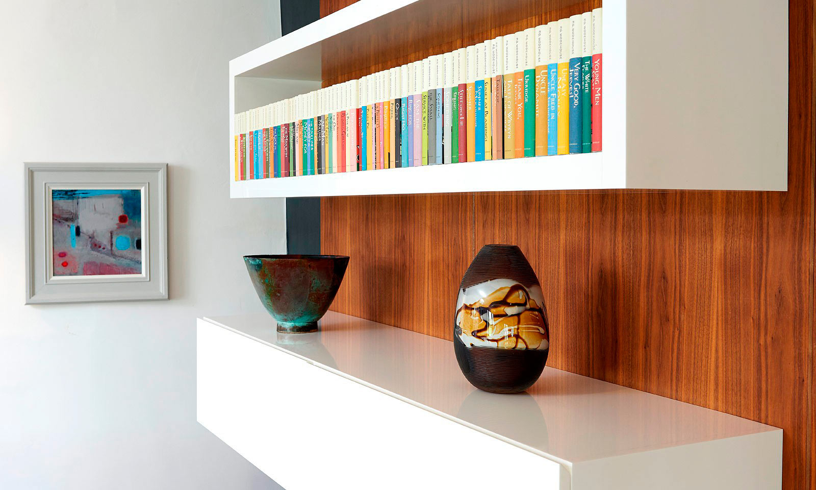 Parapan Shelves. Bespoke, modern, floating shelves, handmade from white Parapan and installed by our skilled cabinet makers at Mounts Hill Woodcraft.