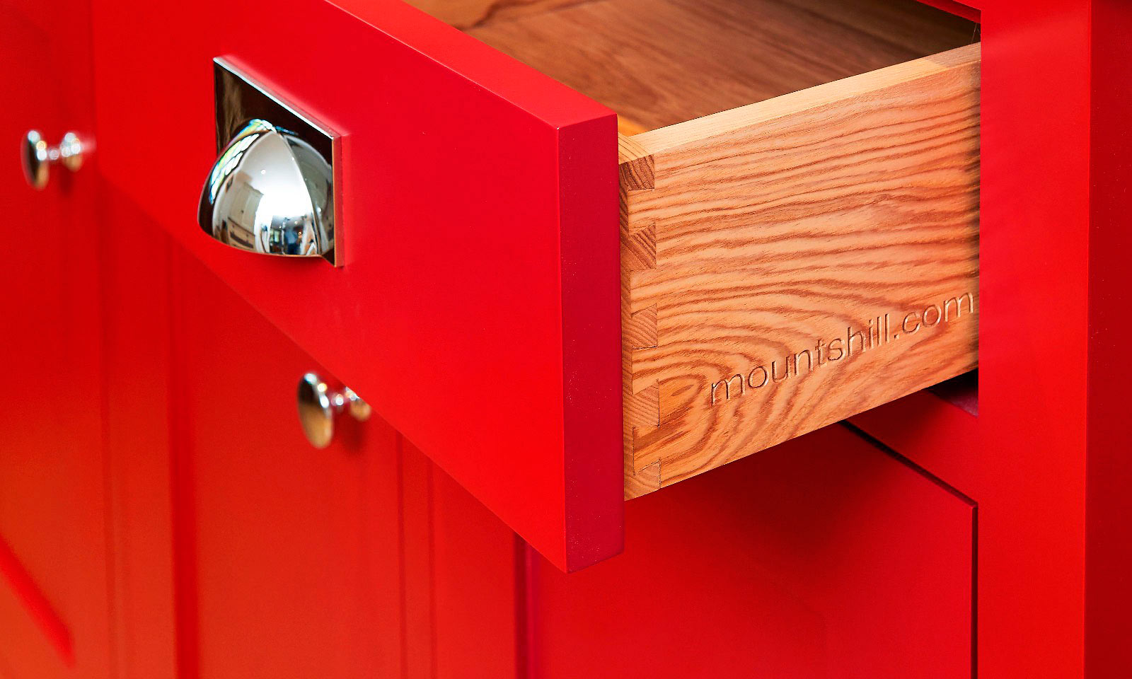 Scarlet Dresser. A bespoke, handmade, hand-painted traditional red dresser, for inclusion in a classic shaker style kitchen. Manufactured with an ash top and bright polished chrome cup handles, another future antique from Mounts Hill Woodcraft.