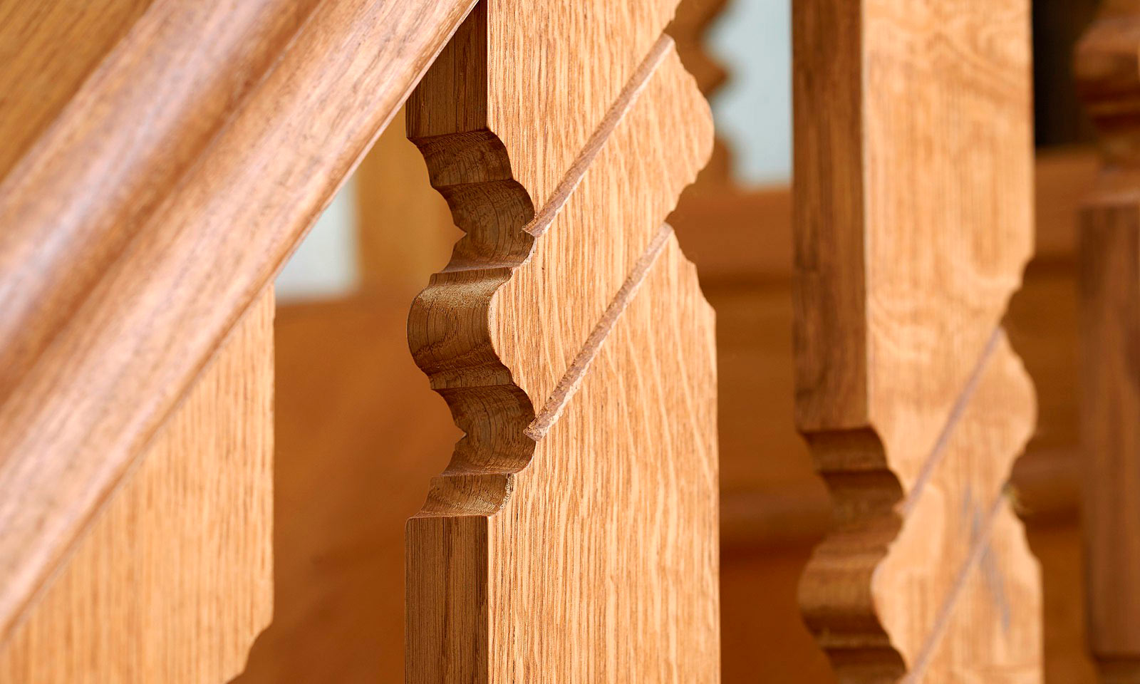 Gothic Staircase. Bespoke, custom made, hand-crafted, stairs, made using traditional wood-working techniques and manufactured out of solid European oak. Bespoke custom made joinery from Mounts Hill Woodcraft.
