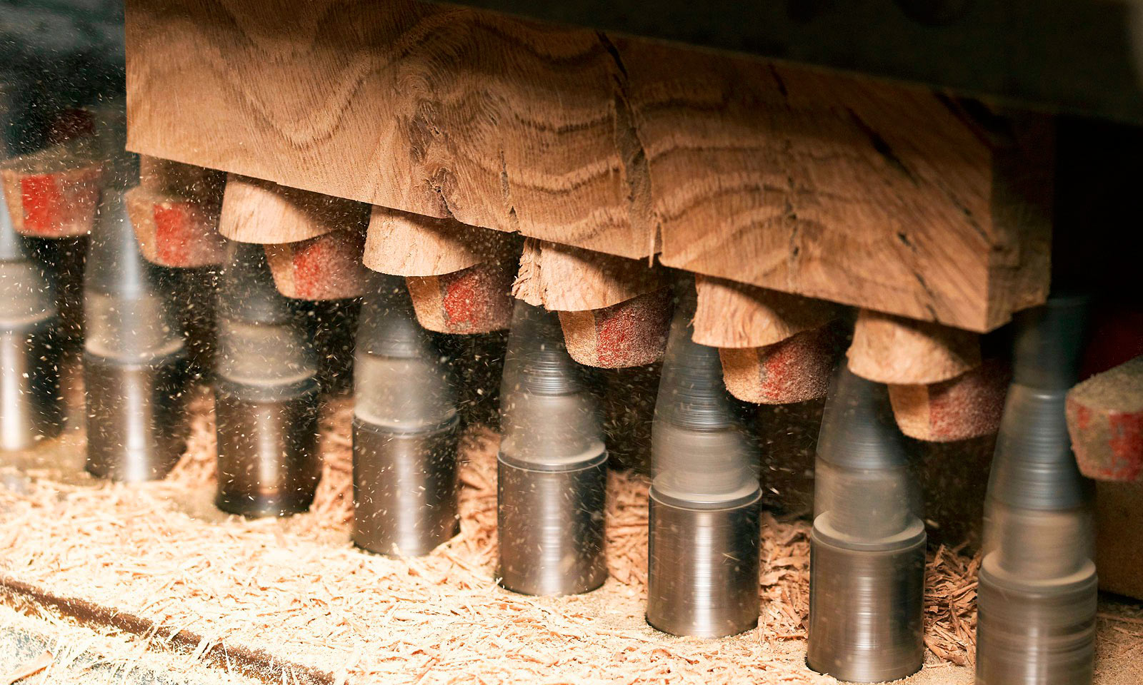 Dovetail joints being cut in Mounts Hill's workshop.