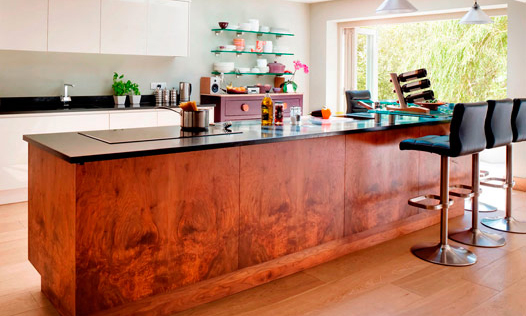 Cranbrook | A bespoke, handmade, Parapan & American Walnut, contemporary kitchen, designed and installed by Mounts Hill. (Taylor made, bespoke kitchens, fitted in Kent, Sussex & Greater London).