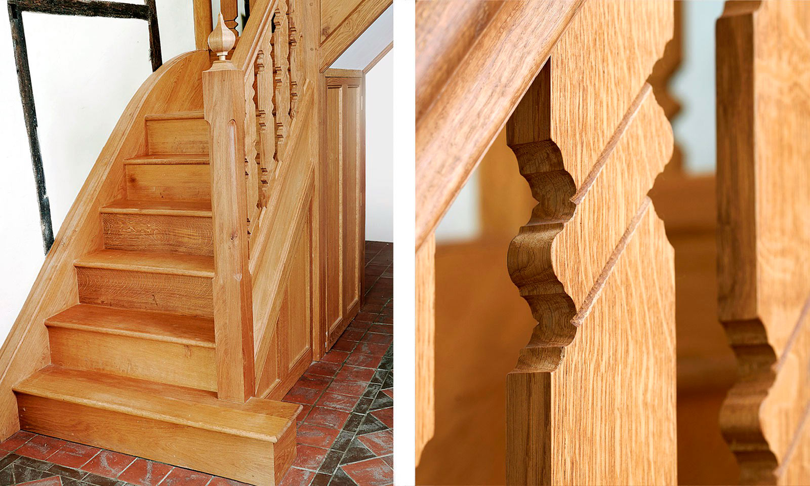 Gothic Staircase. Bespoke, custom made, hand-crafted, stairs, made using traditional wood-working techniques and manufactured out of solid European oak. Bespoke custom made joinery from Mounts Hill.
