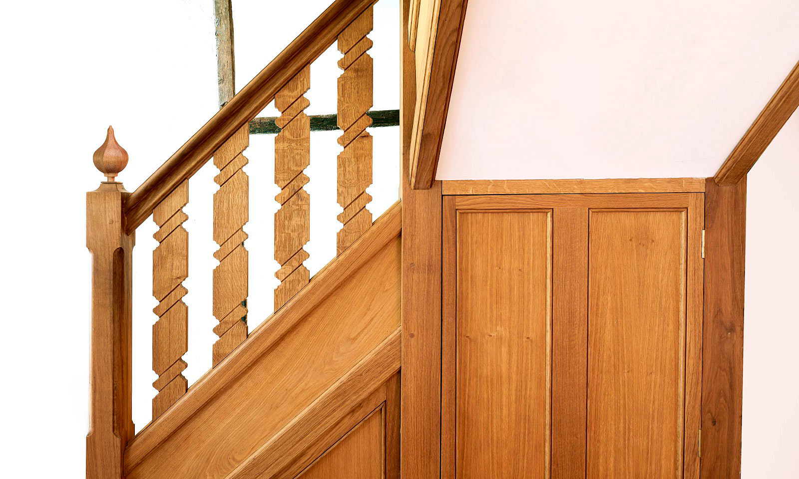 Gothic Staircase. Bespoke, custom made, hand-crafted, stairs, made using traditional techniques and manufactured out of solid European oak. Bespoke custom made joinery from Mounts Hill.