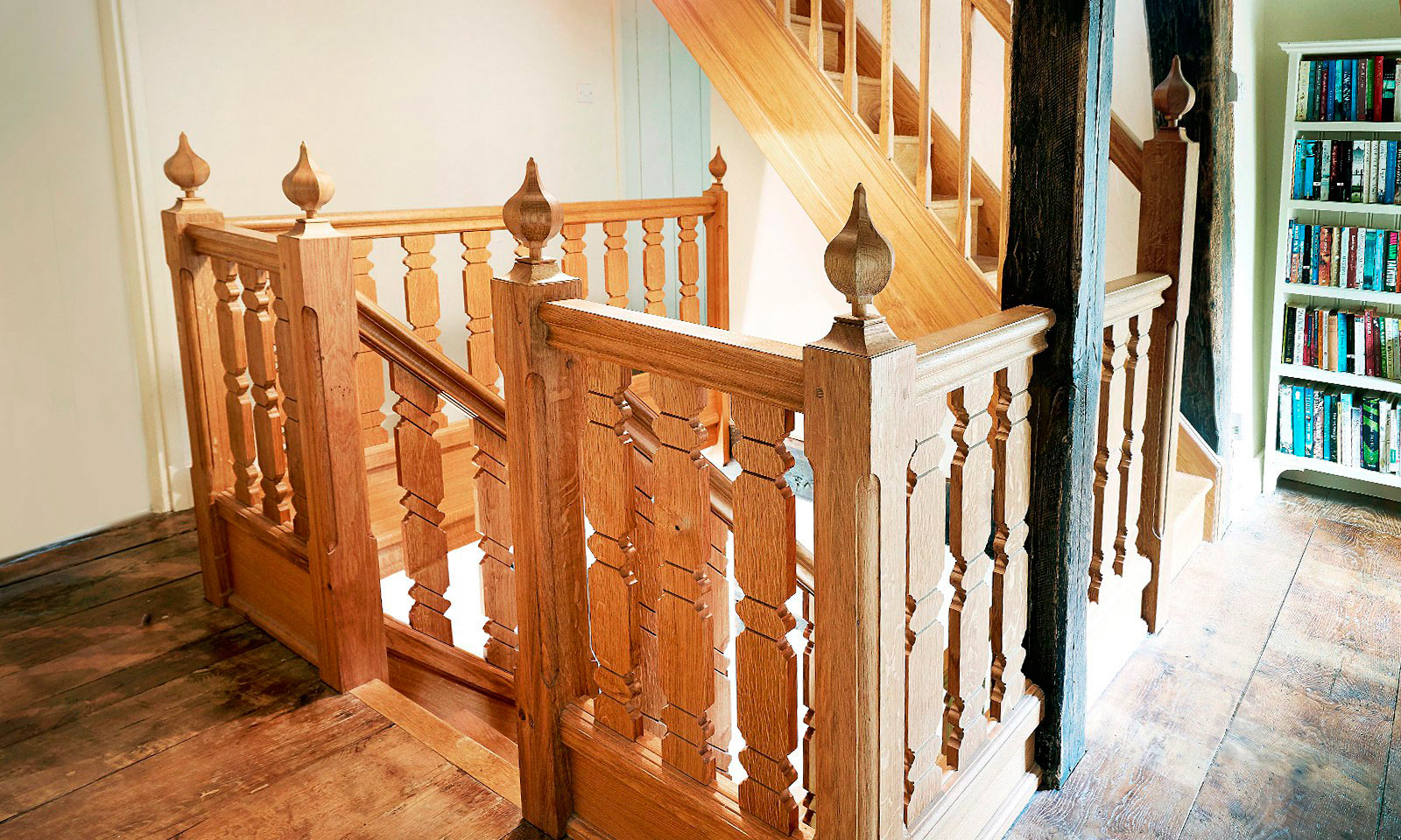 Gothic Staircase. Bespoke, custom made, stairs, made using traditional wood-working techniques and manufactured out of solid European oak. Bespoke custom made joinery from Mounts Hill.