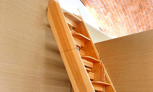 Fold Out Staircase. Custom made, hand-crafted joinery, by Mounts Hill.