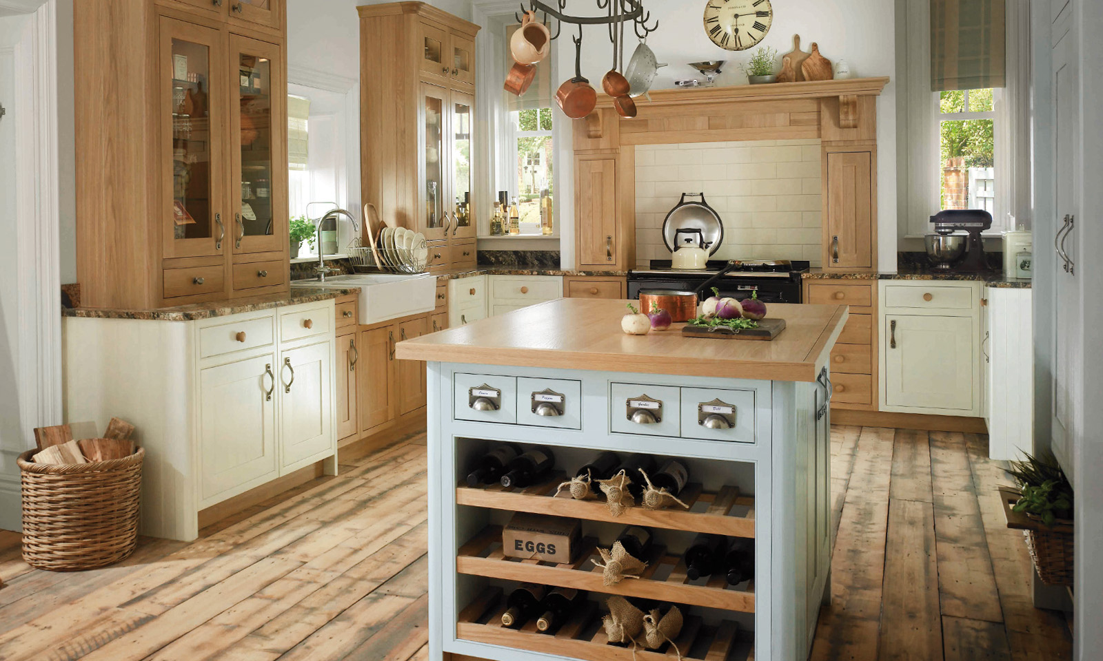 Pluckley. A bespoke, handmade, hand-painted in-frame kitchen, designed for a large socially active family. Another hand-crafted kitchen manufactured by the skilled cabinet makers at Mounts Hill.